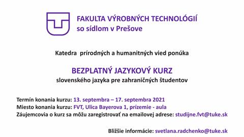 Kurz slovenského jazyka pre zahraničných študentov