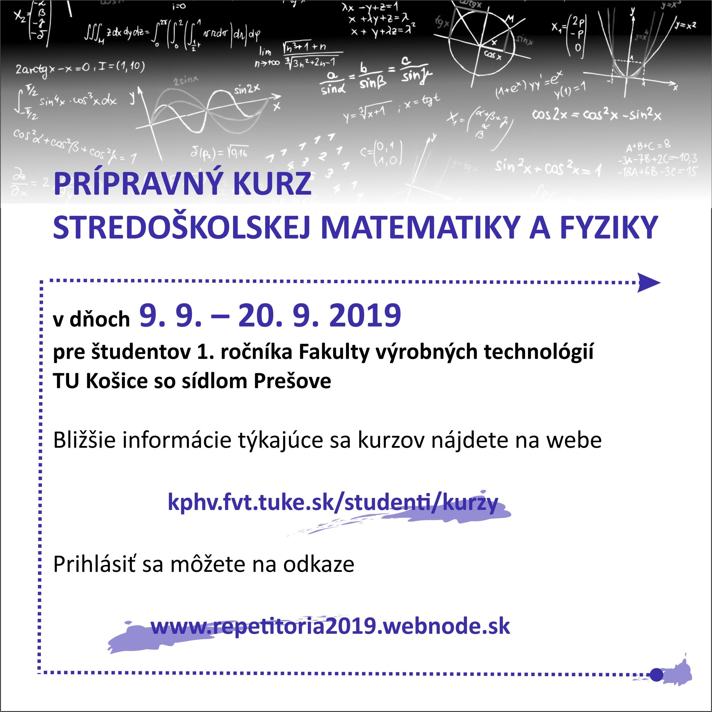 Repetitórium z matematiky a fyziky